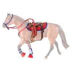Breyer Traditional 2051 - Siodło western zestaw czerwono niebieski