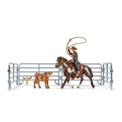 Schleich 41418 - Kowboj łapiący cielaka na lasso