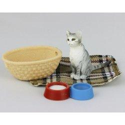 Schleich 97151 - Kot z koszykiem i miskami Exclusive