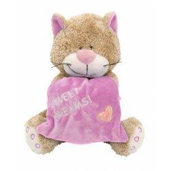Kot z różową poduszką 18 cm