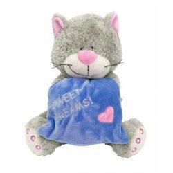 Kot z niebieską poduszką 18 cm