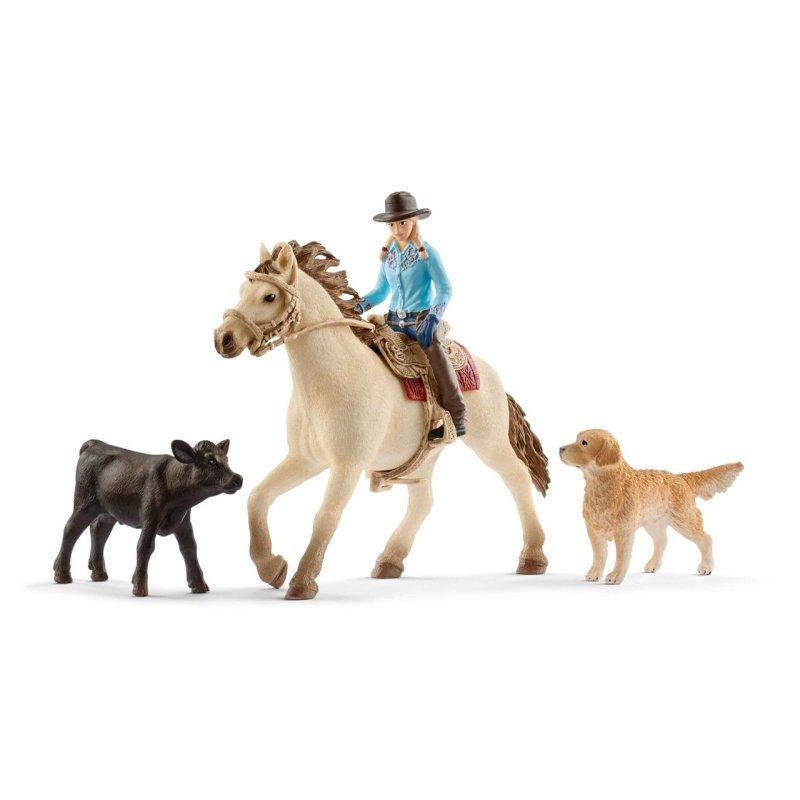 Schleich 42419 - Jeździec westernowy kowbojka i zwierzaki