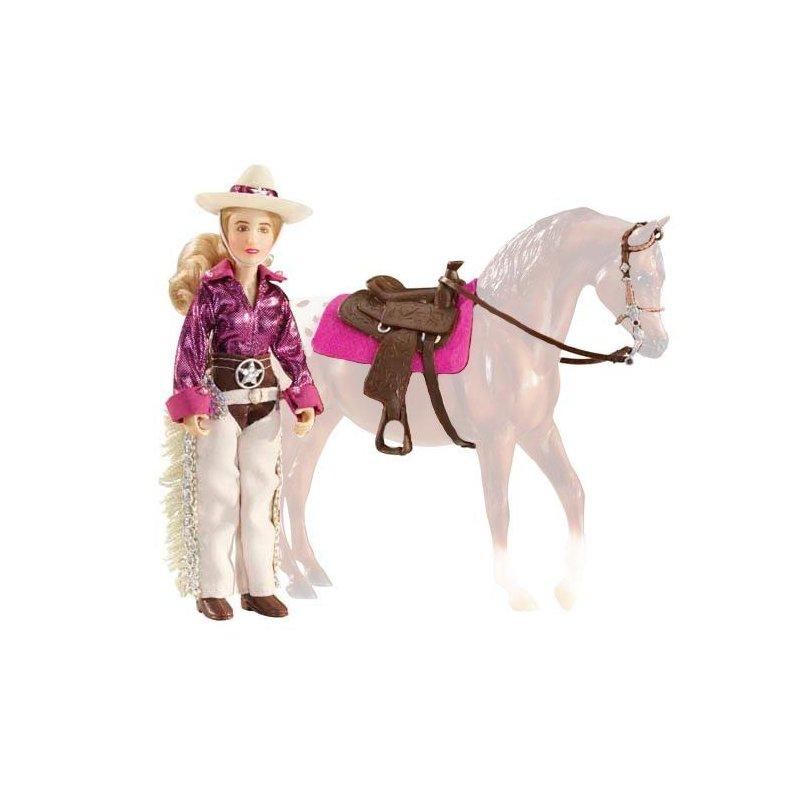 Breyer 61053 - Lalka Kaitlyn kowbojka z siodłem westernowym