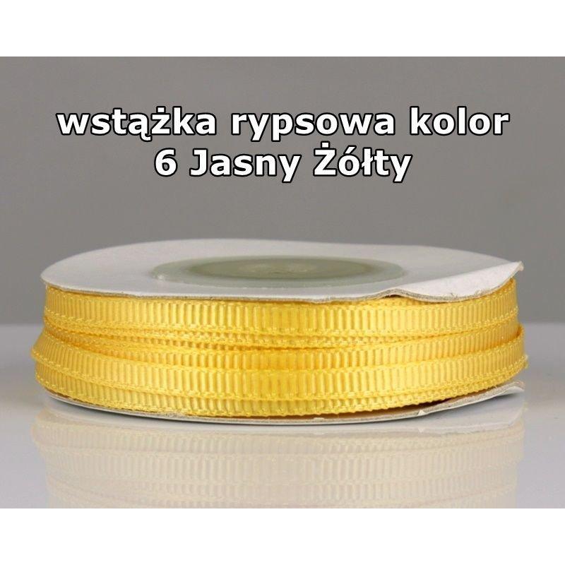 Wstążka rypsowa 3mm/1m kolor 6 Jasny Żółty