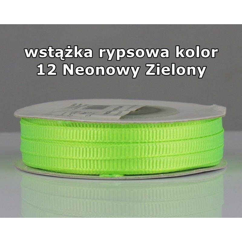 Wstążka rypsowa 3mm/1m kolor 12 Neonowy Zielony