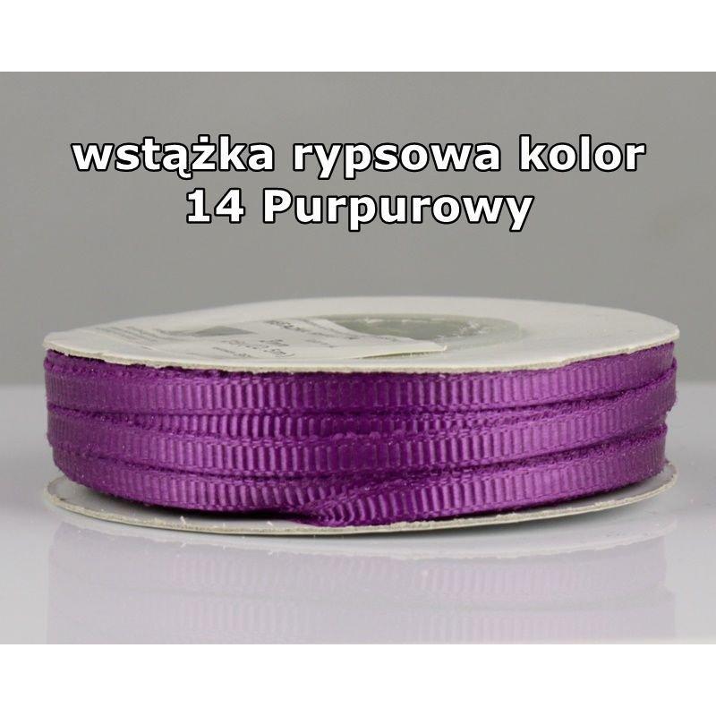 Wstążka rypsowa 3mm/1m kolor 14 Purpurowy