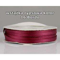 Wstążka rypsowa 3mm/1m kolor 16 Bordo