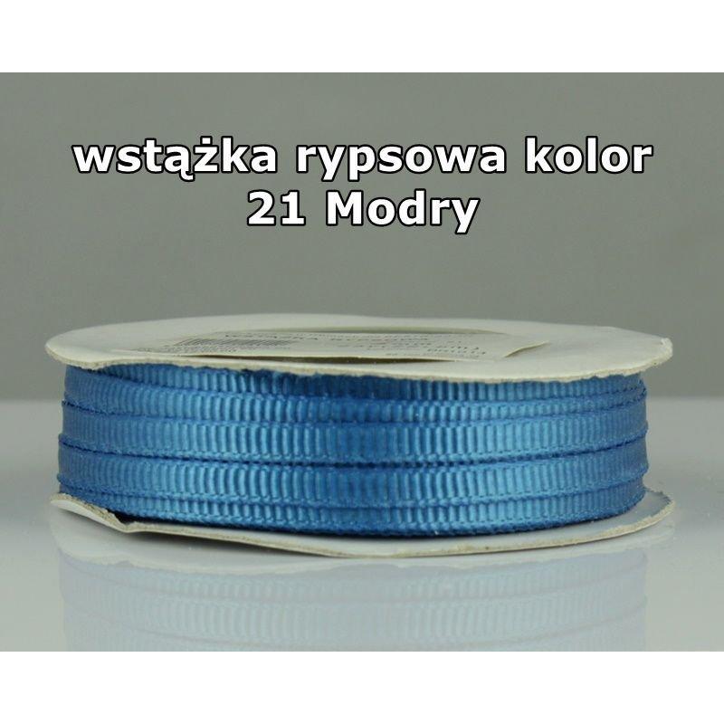 Wstążka rypsowa 3mm/1m kolor 21 Modry