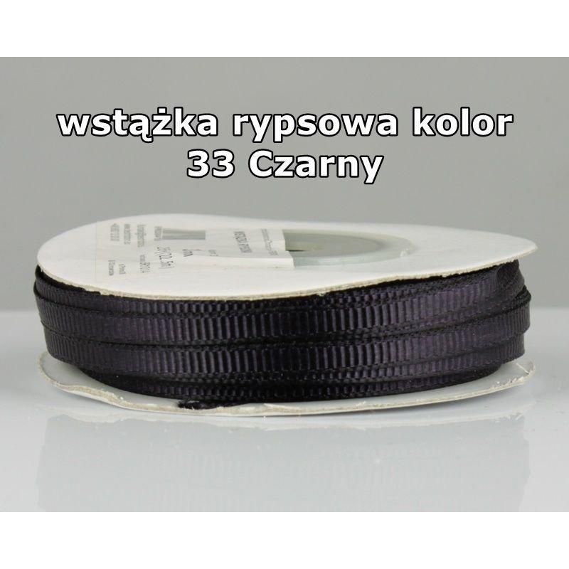Wstążka rypsowa 3mm/1m kolor 33 Czarny
