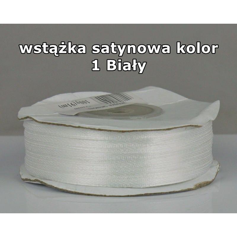 Wstążka satynowa 3mm/1m kolor 1 Biały
