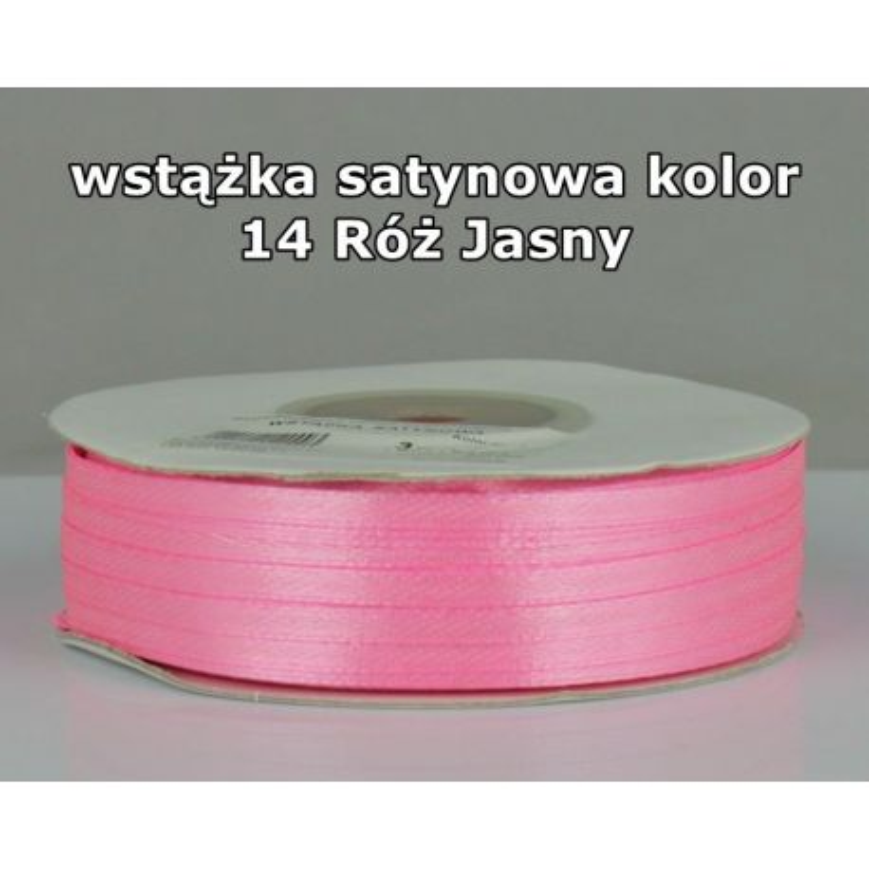 Wstążka satynowa 3mm/1m kolor 14 Róż Jasny