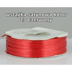 Wstążka satynowa 3mm/1m kolor 23 Czerwony