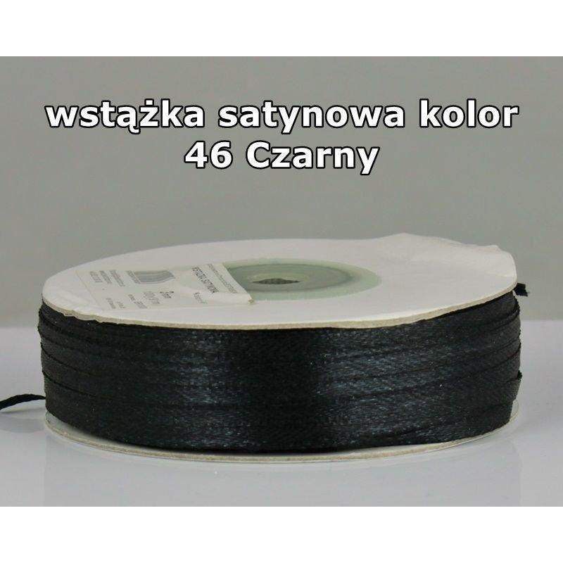 Wstążka satynowa 3mm/1m kolor 46 Czarny