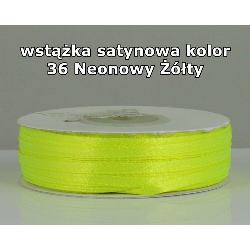 Wstążka satynowa 3mm/1m kolor 36 Neonowy Żółty