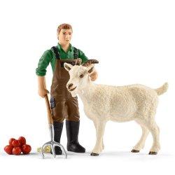 Schleich 42375 - Farmer z kozą i widłami