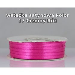 Wstążka satynowa 3mm/1m kolor 17 Ciemny Róż