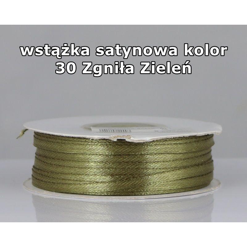 Wstążka satynowa 3mm/1m kolor 30 Zgniła Zieleń