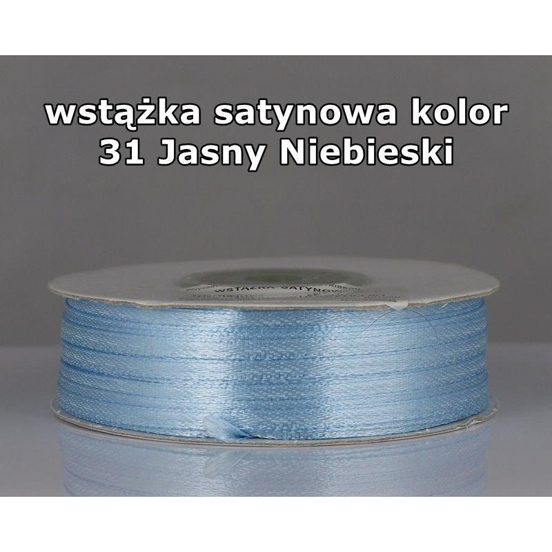 Wstążka satynowa 3mm/1m kolor 31 Jasny Niebieski