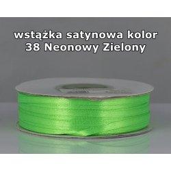 Wstążka satynowa 3mm/1m kolor 38 Neonowy Zielony