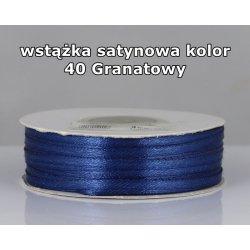 Wstążka satynowa 3mm/1m kolor 40 Granatowy