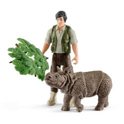Schleich 42428 - Leśniczy i nosorożec indyjski młody