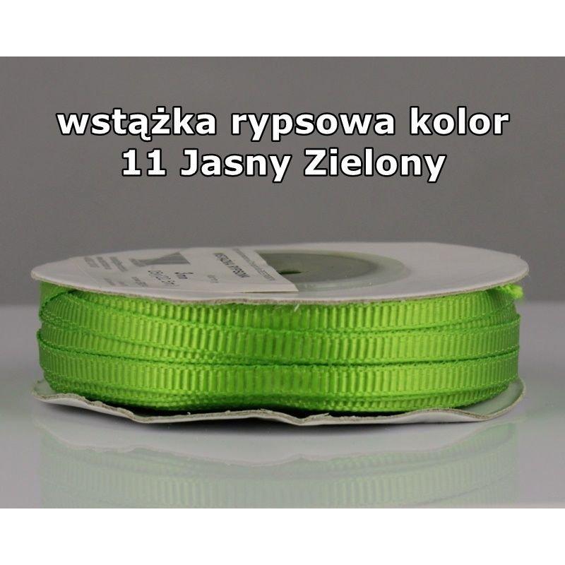 Wstążka rypsowa 3mm/1m kolor 11 Jasny Zielony
