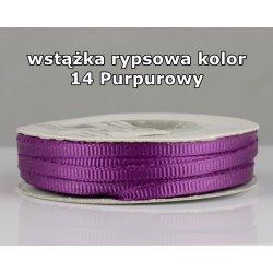 Wstążka rypsowa 3mm kolor 14 Purpurowy cała rolka