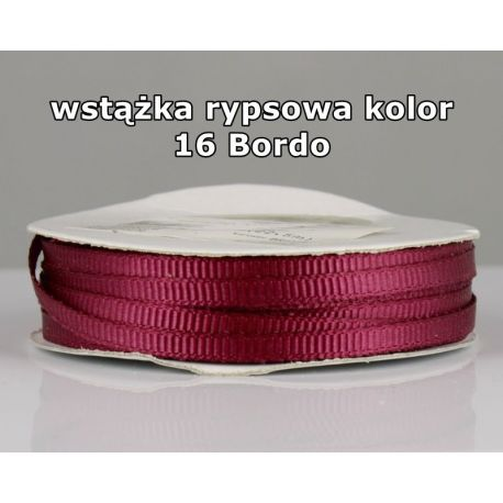 Wstążka rypsowa 3mm/1m kolor 16 Bordo