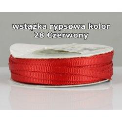 Wstążka rypsowa 3mm kolor 28 Czerwony cała rolka
