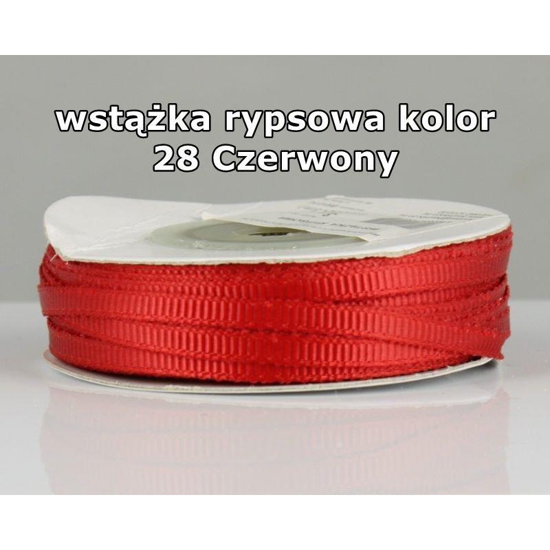 Wstążka rypsowa 3mm/1m kolor 28 Czerwony
