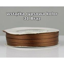 Wstążka rypsowa 3mm kolor 31 Brąz cała rolka