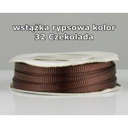 Wstążka rypsowa 3mm kolor 32 Czekolada cała rolka