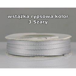 Wstążka rypsowa 3mm kolor 3 Szary cała rolka