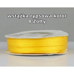 Wstążka rypsowa 3mm/1m kolor 8 Żółty