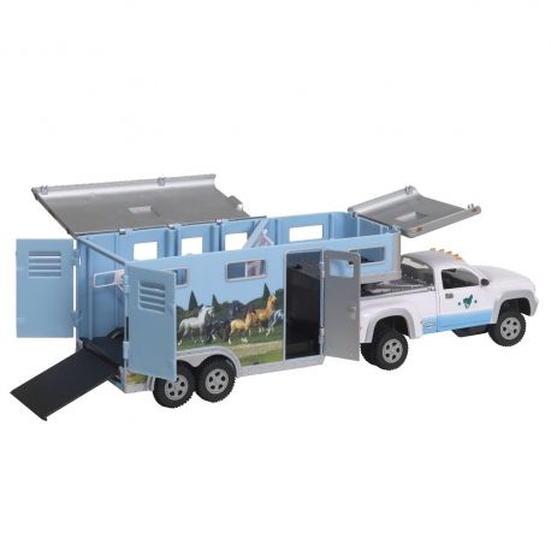Breyer Stablemates 5350 - Koniowóz pickup i przyczepa niebieskie