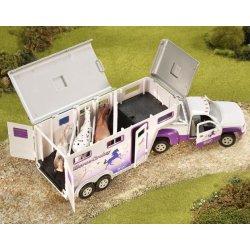 Breyer Stablemates 5369 - Koniowóz pickup i przyczepa fioletowe