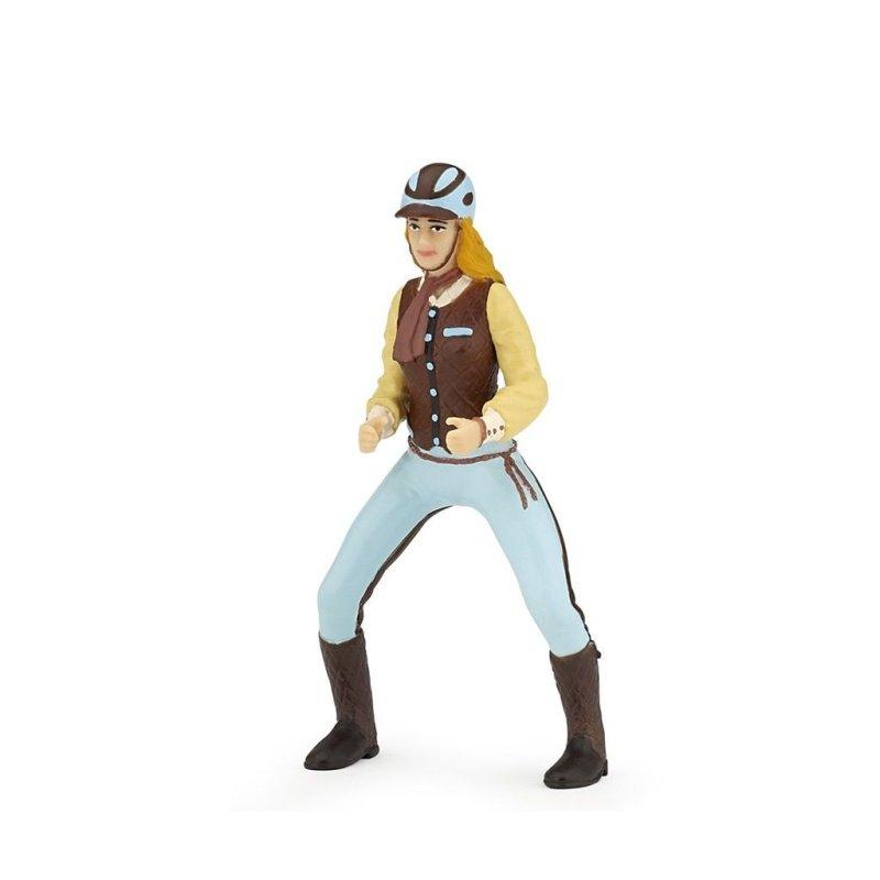 Papo 52009 - Jeździec kobieta w niebieskim stroju